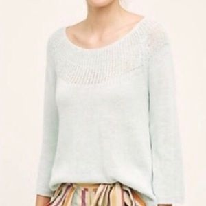 {Anthro} Moth Linen Mint Green Knit Sweater Size M